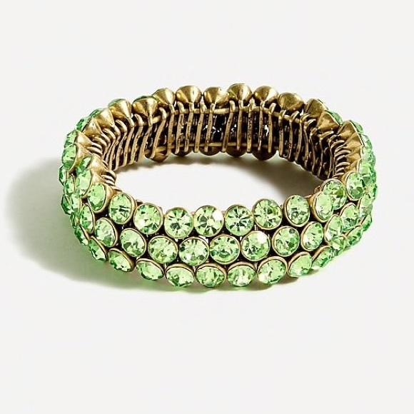 NWT J.Crew Beveled Green Stretch Gemstone Bracelet
